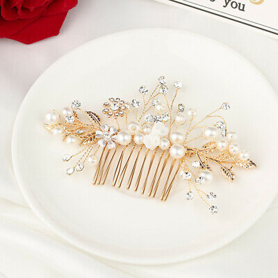 Gold Pearl Rhinestone Flower Hair Pin Bridal Clips Bridesmaid Tiara Hair Combs