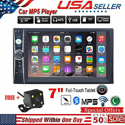 """7"""" HD 2Din Touch Screen Car MP5 FM Player Bluetooth Stereo Radio USB/TF/AUX-IN"""