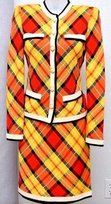 4bb874857e ST.JOHN Amazing Womens Plaid Knit Suit Tweed Yellow Red Blac Jacket & Skirt  Sz