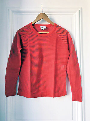 216638a10d PULL COTON ROUGE ajouré LACOSTE DEVANLAY Taille 6 XL col rond Made ...