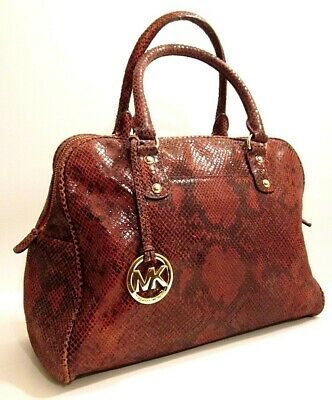 942941893b9d Michael Kors Burgundy/Red Genuine Leather Satchel Shoulder Bag Purse Tag  Charm