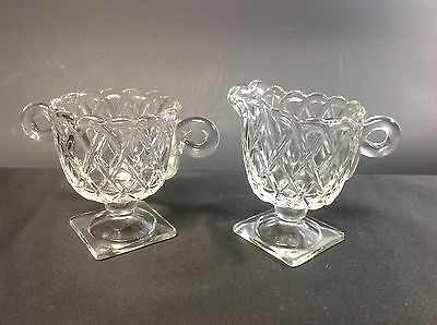 Indiana Glass Clear Pretzel Footed Cream & Sugar Set