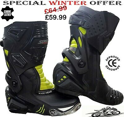MENS HiViz & BLACK SPEED MAXX MOTORBIKE MOTORCYCLE CE RACING LEATHER SHOES BOOTS