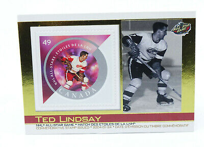 2004 Canada Post #27 Ted Lindsay Hockey Card with Commemorative Stamp