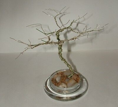 "Twister Tree with Glass Base- Wire Art Sculpture         7"" Tall"