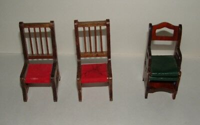 Vintage Miniature Wooden Dollhouse Furniture 2 Chairs & Folding Chair/Step Stool