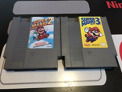 Super Mario Brothers 2 + 3 Bros. Nintendo NES Game Cart Lot Works Free Shipping