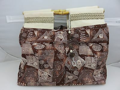 Handcrafted Carry-All Sewing Knitting Bag Handbag Bamboo Handles Bead Attachment