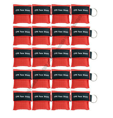 20 pcs CPR MASK WITH KEYCHAIN CPR FACE SHIELD AED TRAINING RED FIRST AID