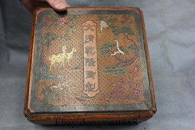 "9"" Marked Chinese Wood lacquerware Deer Crane Flower Storage Box Boxes Case"