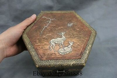 "9"" Marked Chinese Wood lacquerware Two Deer Storage Box Boxes Case"