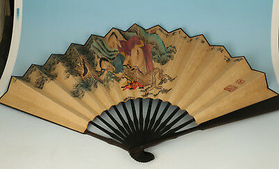 untique Handmade Paper Painting Qing Dynasty Word Statue Decoration Fan ornament