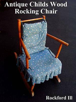 (G) VINTAGE Children's Wooden Rocking Chair ANTIQUE WITH FABRIC SEAT *No-Ship*