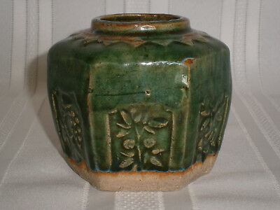 Antique Vintage Chinese Gold Rush Green Pottery Ginger Jar No.130 1850's.
