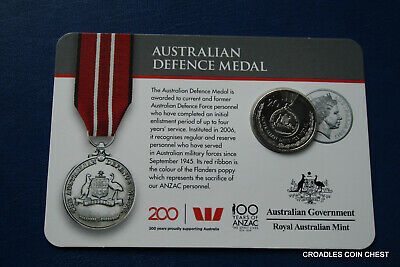 2017 20 Cent Bu Uncirculated Australian Defence Medal  Legends Of Anzac Medal