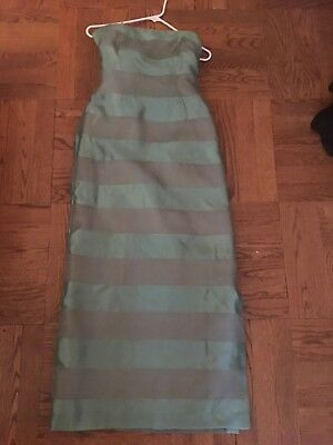 9066ec617b04 GREEN/GRAY SILK STRAPLESS Evening Dress by Neiman Marcus. Size 2 ...