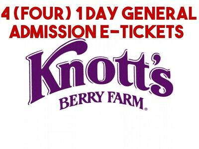 Knotts Berry Farm e-tickets - 1 Day General Day Admission (Total of 4 e-tickets)