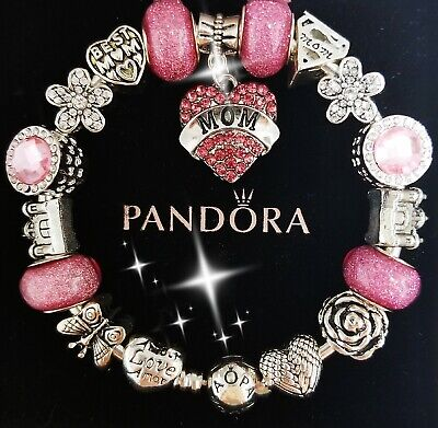 Authentic Pandora Bracelet Silver Bangle with Pink Love Mom European Charm