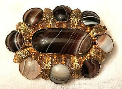 Antique Victorian Scottish Banded Agate Gold Gilt Brooch Pin 19th Century 1800s