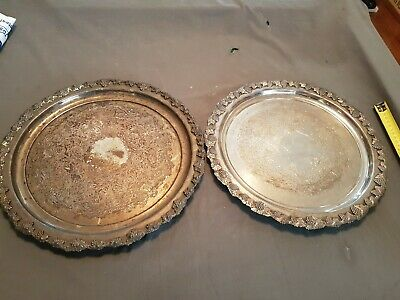 2 Vintage Silver Sheffield Reproduction Trays