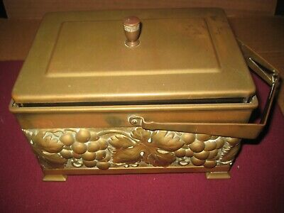 Vintage Brass  Box with Handle & Glass Insert.