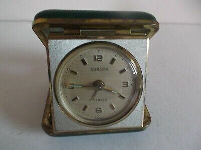 Vintage Europa Travel Alarm Clock - 2 Jewels - Made In Germany