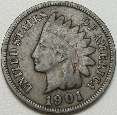 1901 1C Indian Cent, IHC, Indian Head Penny, Copper, #11234
