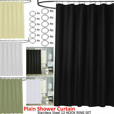 Shower Curtain Plain Bathroom Liner with 12 Matching Hooks With Rings Set