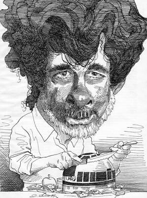 PLAYBOY 5 PAGE INTERVIEW - CARICATURE OF GEORGE LUCAS BY DAVID LEVINE Star Wars