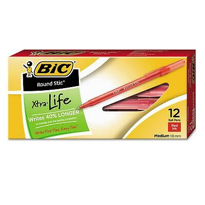 Bic Round Stic Xtra Life Ballpoint Pen 1mm Medium Red 5PkX12P=60Ct