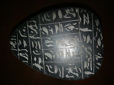 Large Egyptian black stone scarab beetle with hieroglyphs