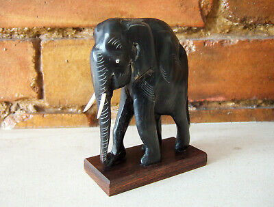 """ANTIQUE VICTORIAN/EARLY 20th CENTURY HAND-CARVED EBONY INDIAN ELEPHANT, 4"""" TALL"""