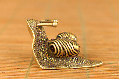 Mini old bronze hand casting fortune snail statue netsuke table decoration