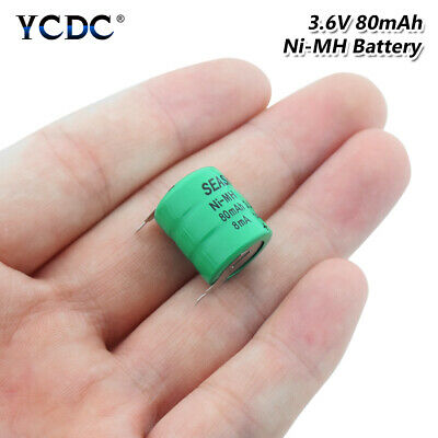 3.6V 80mAh Ni-MH Battery Button Cell Pack With Pins Rechargeable Batteries EDE6