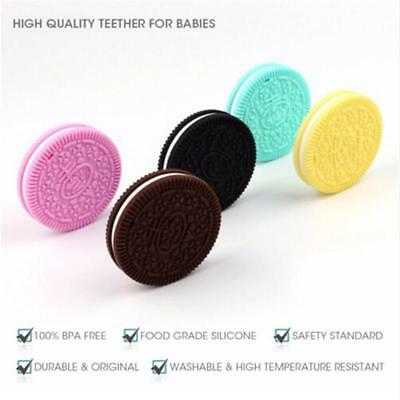 Silicone Round Teething Biscuit Teether Chew Toy Mum Baby Pendant Jewellery DS