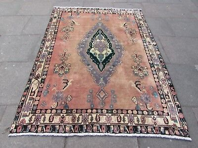 Old Hand Made Traditional Persian Rug Oriental Wool Pink Large Rug  233x162cm