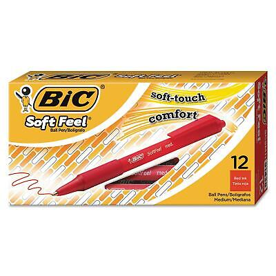 Bic Soft Feel Retractable Ballpoint Pen 1Mm Medium Red Ink 2PkX12=24Ct Elegant!
