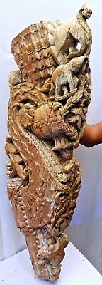 Mughal Wooden Bracket Architectural Curved Elephant Indian Art Corbel Vintage