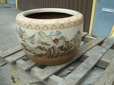 Large Antique Late 19Th Century Glazed Terracotta Hand Painted Japanese Planter