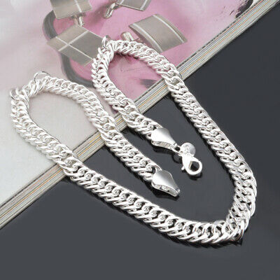"""925 Sterling Solid Silver Cuban Chain Necklace For Men Jewelry Gifts 20"""" 10mm"""