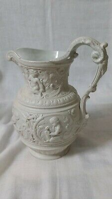 Victorian Relief Moulded Parian Ware Jug 1852 Classical Scenes