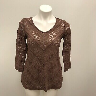 52c82d15b59cf2 Anthropologie Lilka Womens Size Small Colette Mauve Brown Layered Lace  Blouse