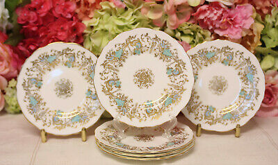 "Royal Cauldon, ""Gainsborough"" Bone China Salad Plates (6) Turquoise/Gilt"