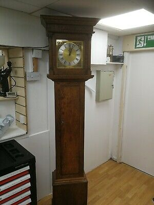 longcase grandfather clocks slim solid oak case 8day Bell strike