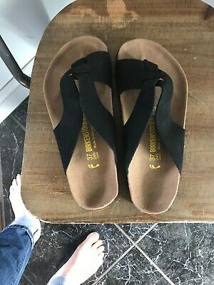 7be0a80230fc Birkenstock Black Suede Leather Sandals Women s sz 37 US 6 Slides NEW