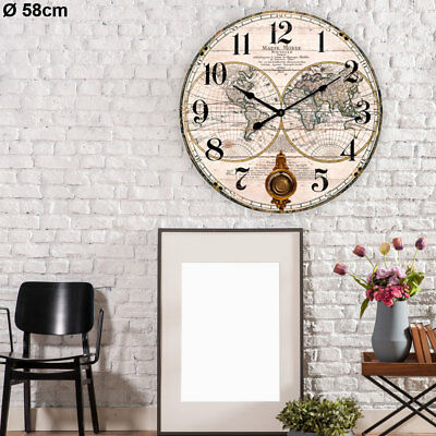 Large Wall Watch Shabby Look Living Room Decor MDF Painted Numbers Pendulum Hand