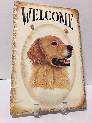 """GOLDEN RETRIEVER SLATE HAND PAINTED WELCOME SIGN w/RAWHIDE HANGER 12"""" X 8"""""""