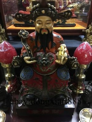 """18"""" Chinese Bronze God of Wealth Wealthy Dragon Mammon Treasure Fengshui Statue"""