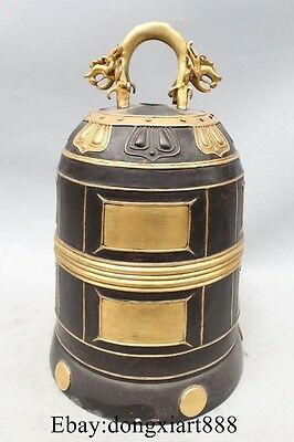 """12"""" Chinese 100% Pure Bronze Copper 24K Gold Buddhism Temple Dragon Bells"""