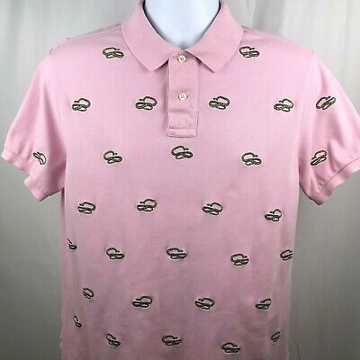 8eb287713 Ralph Lauren Mens Custom Fit Polo Shirt Embroidered Snakes Pink Size Large.  A3